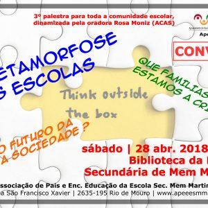 "CONVITE – Debate ""A Metamorfose das Escolas"" – 28 Abr. 2018 (sábado) na ESMM"
