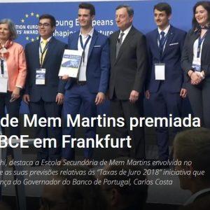 Escola Secundária de Mem Martins premiada na sede do BCE em Frankfurt