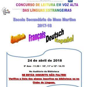 Concurso de leitura – Línguas Estrangeiras
