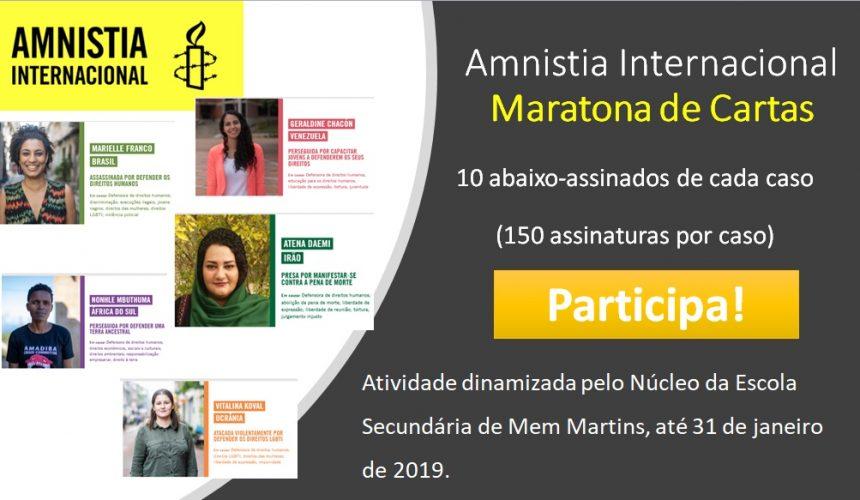 Amnisitia Internacional – Maratona de Cartas 2018-2019