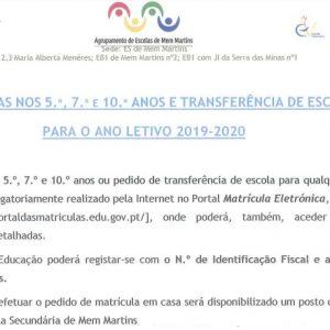 MATRÍCULAS 5.º, 7.º E 10.º ANOS E TRANSFERÊNCIAS – ANO LETIVO 2019-2020